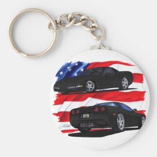 1998-04 Corvette Black Car Basic Round Button Keychain