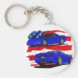 1999-04 Corvette Blue Car Basic Round Button Keychain