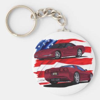 1999-04 Corvette Maroon Car Basic Round Button Keychain