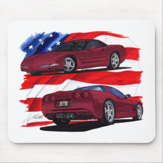 1999-04 Corvette Maroon Car Mouse Pad