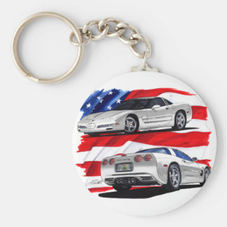 1999-04 Corvette White Car Basic Round Button Keychain