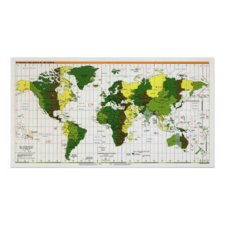 1999 CIA Time Zone Map of the World Poster