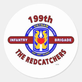 "199TH INFANTRY BRIGADE "" THE REDCATCHERS""VIETNAM CLASSIC ROUND STICKER"