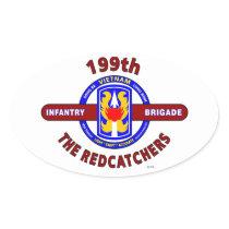 "199TH INFANTRY BRIGADE "" THE REDCATCHERS""VIETNAM OVAL STICKER"