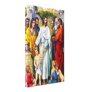 19:13 de Matthew - 15 pequeños niños vienen a Jesú Impresiones En Lienzo Estiradas