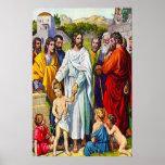 19:13 de Matthew - 15 pequeños niños vienen a Jesú Posters