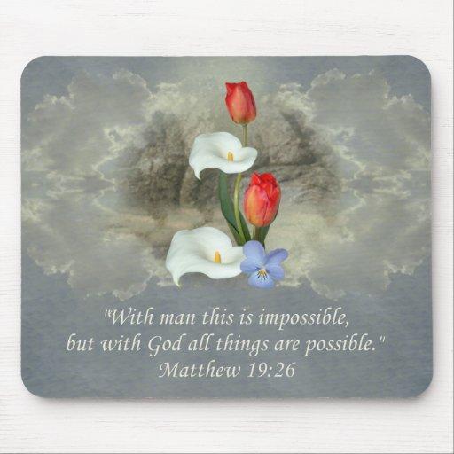 19:26 cristiano de Matthew del ~ del arte de la fe Alfombrillas De Ratón