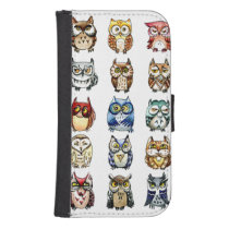 19 and 1 Cat and Owls Samsung S4 Wallet Case