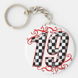 19 auto racing number keychain