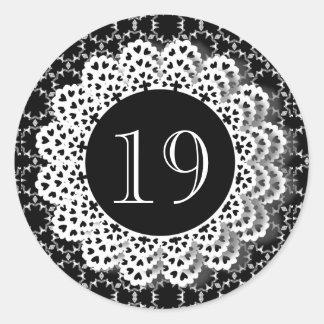 19 Birthday Black and White Pattern Lace V19 Classic Round Sticker