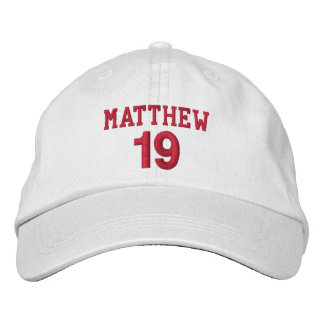 19 Birthday Custom Name Red Embroidery V04 Embroidered Baseball Hat