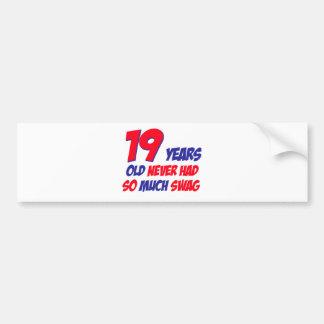 19 birthday design bumper sticker