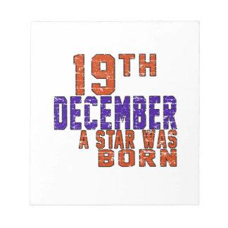 19 de diciembre una estrella nació bloc de papel