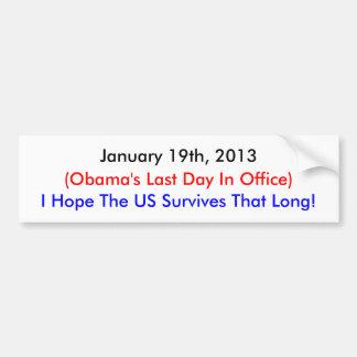 19 de enero de 2013, el día pasado de Obama Pegatina Para Auto