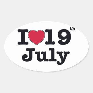 19 de julio mi día de cumpleaños pegatina ovalada