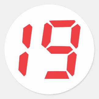 19 diecinueve números digitales del despertador pegatina redonda