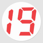 19 nineteen  red alarm clock digital number round stickers