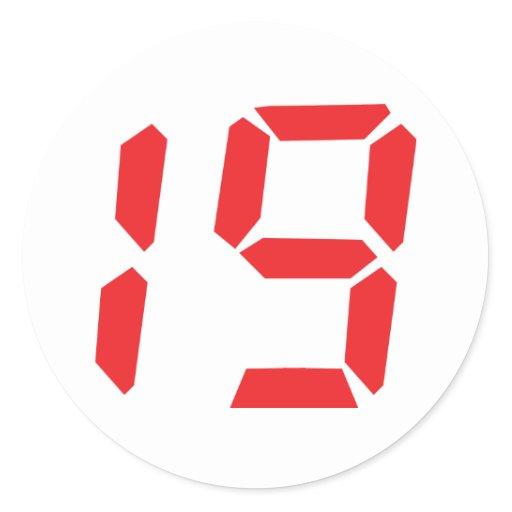 19 Nineteen Red Alarm Clock Digital Number Sticker Zazzle