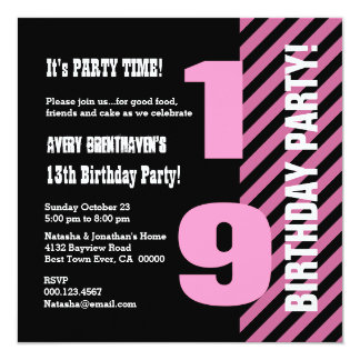 19 or Any Teen Year Birthday Modern Stripes V19Z Personalized Invitations