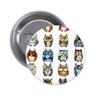 19 Owls and 1Cat 2 Inch Round Button