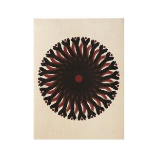 "19"" x 14.5"" RED/BLACK CIRCLE SUN Wood Poster"