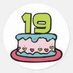 19 Year Old Birthday Cake Round Stickers