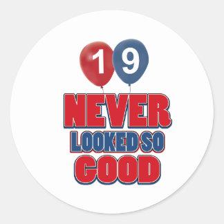 19 year old birthday designs classic round sticker