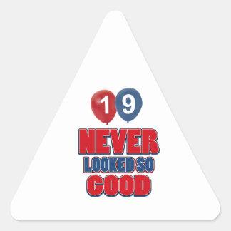 19 year old birthday designs triangle sticker