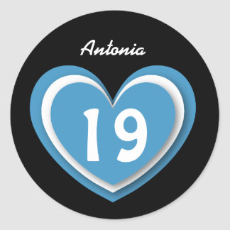19 Year Old Birthday Layered Hearts V06B Blue Classic Round Sticker