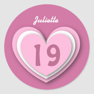 19 Year Old Birthday Layered Hearts V19R Classic Round Sticker