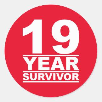 19 year survivor classic round sticker