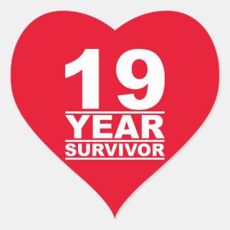 19 year survivor heart sticker