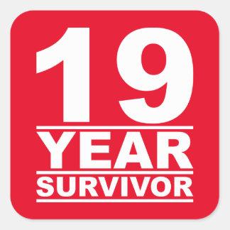 19 year survivor square sticker
