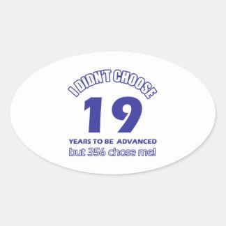 19 years advancement oval sticker