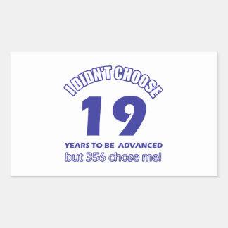 19 years advancement rectangular sticker