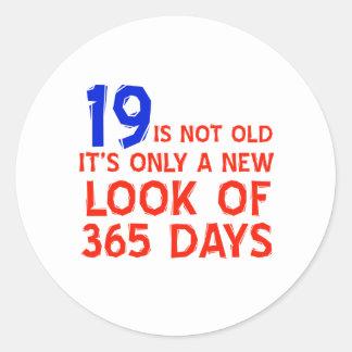 19 years Old birthday designs Classic Round Sticker