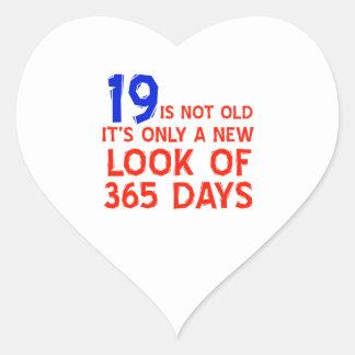 19 years Old birthday designs Heart Sticker