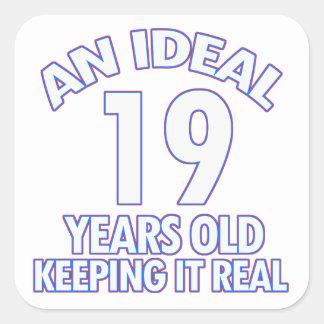 19 YEARS OLD BIRTHDAY DESIGNS SQUARE STICKER