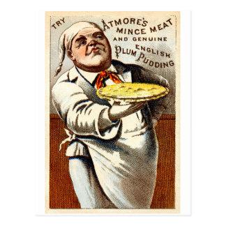 19C Atmores Mincemeat Pie + Plum Pudding Postcard