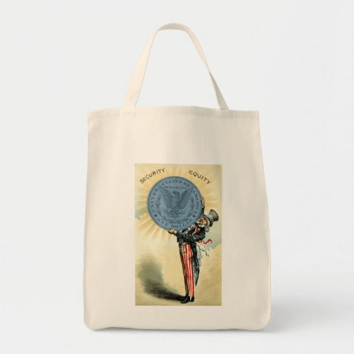 19C Uncle Sam Likes Silver Grocery Tote Bag