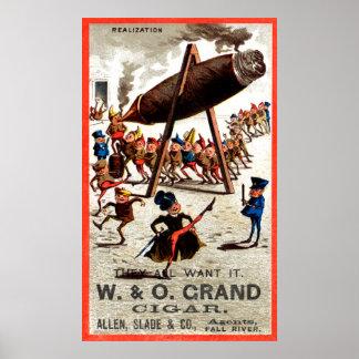 19C Vintage Grand Cigar Poster