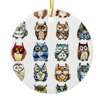19Owls and 1Cat Ceramic Ornament