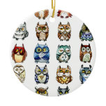 19Owls and 1Cat Christmas Tree Ornaments