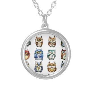 19Owls and 1Cat Silver Plated Necklace