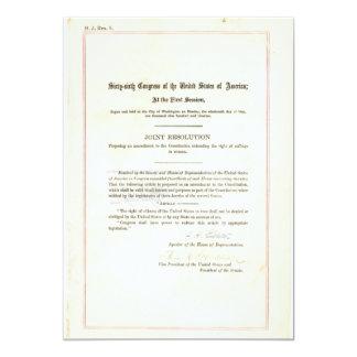 19th Amendment to the United States Constitution 5x7 Paper Invitation Card