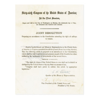 19th Amendment to the United States Constitution Postcard