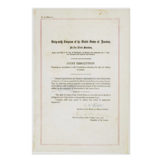 19th Amendment to the United States Constitution Poster