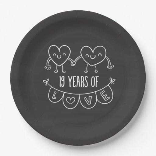 19th Anniversary Gift Chalk Hearts Paper Plate Zazzle