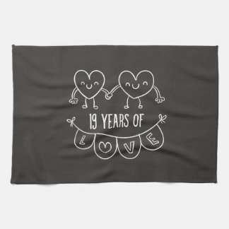 19th Anniversary Gift Chalk Hearts Towel