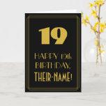 "[ Thumbnail: 19th Birthday – Art Deco Inspired Look ""19"" & Name Card ]"